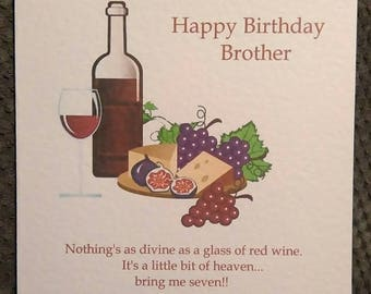 Personalised Humorous Red Wine Birthday Card Any Text