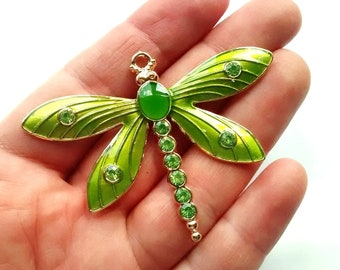 1/2 pcs Gold Large enamel dragonfly pendant, diamante green, bling diamante cases, craft supplies, jewellery making, bag planner charm,