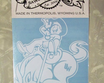 """Licensed University of Wyoming youth bucking horse and rider logo decal sticker UW cowboys die cut vinyl 4"""" X 5"""" or any size"""