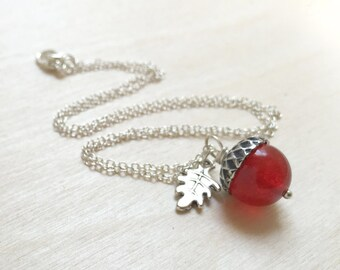July Red Chalcedony Birthstone Necklace | Acorn Necklace | July Birthday Necklace | Gemstone Acorn Charm Necklace | Nature Jewelry