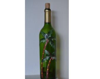 Wine bottle art: Coconut trees on a wine bottle