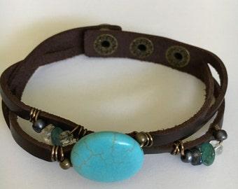 Leather Bracelet, Gemstone Bracelet, Turquoise, Gemstone Leather Wrap Bracelet, Gift, Women Gift