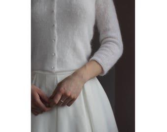 Bridal Fluffy Bolero, Wedding Kate Middleton Sweater, Off White Ivory Mohair Knit Shrug, Wedding Cardigan, 3/4 Sleeve, Cover Up Mohair, Wrap