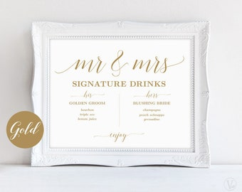 Gold Signature Drinks Sign, Mr and Mrs Signature Drinks Sign, Printable Signature Drinks Sign, Wedding Reception Sign