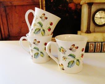 Three James Kent Old Foley, Wild Strawberry Mugs, Staffordshire Tea Mugs, Ironstone Cottage Chic Mugs, English Mugs