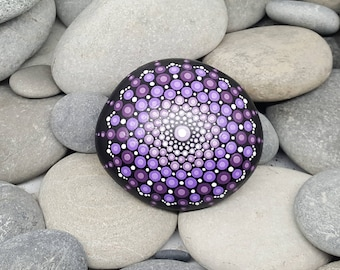 Purple Painted Rock - Mandala Stone - Meditation Mandala Rock - Dot Art - Chakra - Paperweight