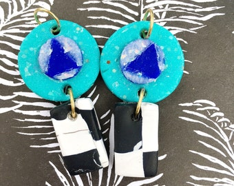 Blue Suede Checkers Earrings