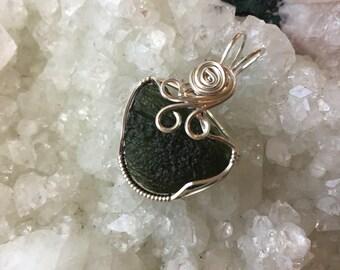 Moldavite Pendant, Sterling Silver Pendant, Wire Wrapped Pendant, handmade jewelry,