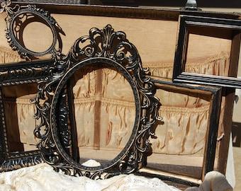 Black Picture Frame Set / Set Of 5 Shabby Chic Frames / Vintage Frame Collage / Ornate / Gallery