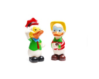 Vintage Lovely Collection rubber toys, colorful red green duck figurines, collectible plastic animal toy, kids room decoration gift, 1960s