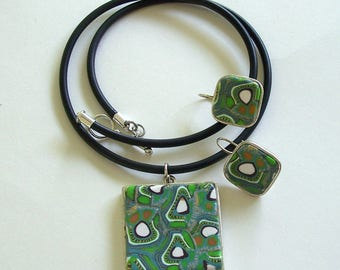 Green and and White Kiwi Patterned Polymer Clay Cane Pendant and Earrings in Metal Bezels by Carol Wilson of PollyClayDesigns