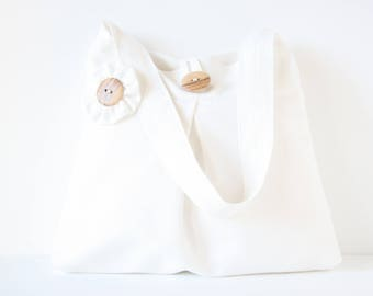 Shoulderbag white cotton