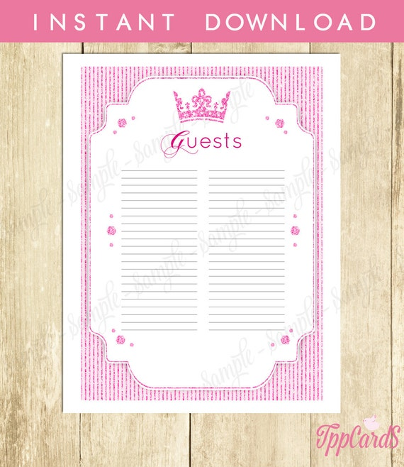 baby shower sign in sheet