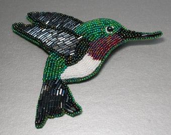 Ruby Throated Hummingbird Bead Embroidered Brooch