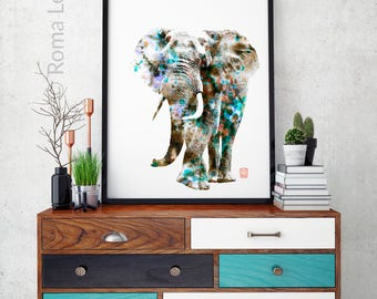 Elephant Photo wall art print African animal poster Digital mixed media elephant wall art poster Elephant abstract painting Blue black white