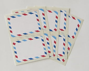 Airmail Sticker Labels White Rectangle