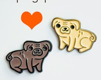 lapel pin set, pug dog enamel pins, pug pin, year of the dog 2018, pug engagement gift for her, dogs enamel pin set, cute enamel pin set,