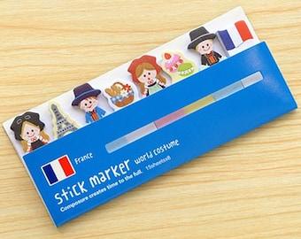 Sticky Bookmarks : FRANCE World Costume - Stick marker Flag Sticky Note & Memo Set, Korean Planner Memo Pads / Decoration, Stationery