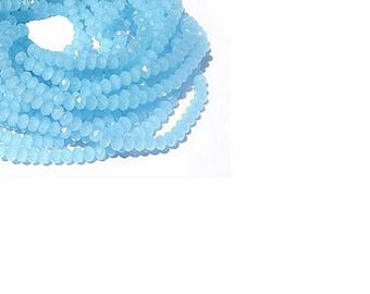 Blue Chalcedony Beads - 4MM Faceted Blue Chalcedony Rondelle Gemstone Beads  - 18 Inch Strand