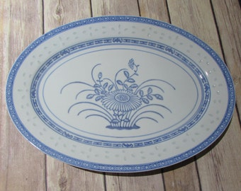 Chinese Rice Eyes Flower Design Blue and White Oval Serving Tray Platter Plate