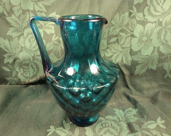 Diamond Optic Blue Glass Pitcher Applied Ribbed Handle Mid Century