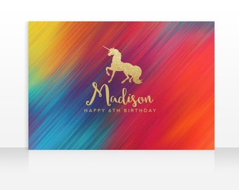 DIGITAL FILE Backdrop Poster: Gold Unicorn Birthday Printable Banner Backdrop 60x40 inches, Gold Unicorn Birthday Backdrop Poster PDF