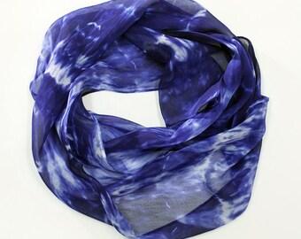 Royal Blue and Purple Chiffon Silk Hand Dyed Silk Scarf - 419