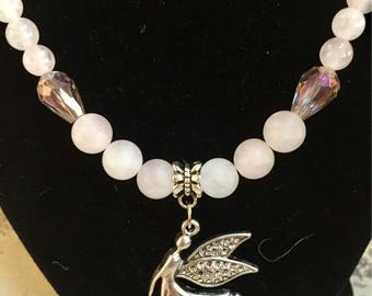 Beautiful Rose Quartz and Butterfly Hematite with Fairy Pendant ~ Heart Chakra ~ Love ~