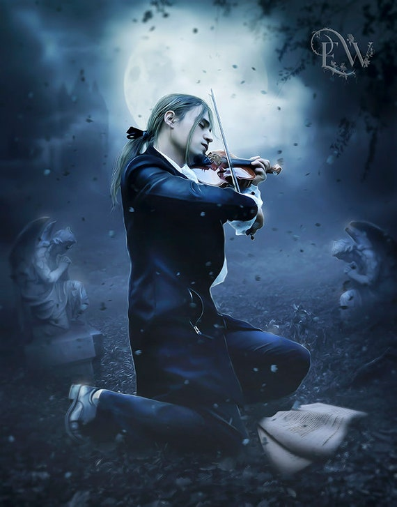 Gothic Victorian man playing violin art print by Enchanted Whispers