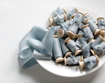 Silk ribbon, hand-dyed, Plant-dyed Light Blue 100% pure silk habotai ribbon