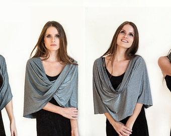 Gray Elegant Wrap Shawl. Glittering Party Top, Sparkling Bolero, Grey  Silver Shawl With 4 Wearing Ways- Shawl, Shrug, Crisscross Or Scarf
