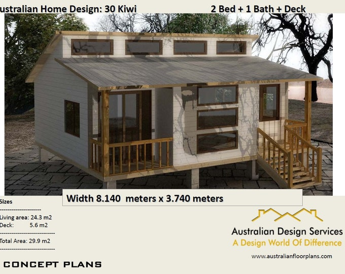 30 Kiwi 29.9 m2 /  2 Bedroom Granny Flat House plans for sale - - Concept House Plans For Sale