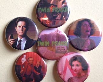 "Twin Peaks pin back buttons 1.25"" set of 6"