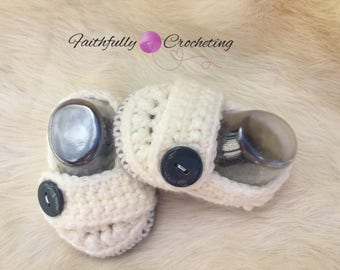 Newborn loafers... cream shoes... baby booties... dress shoes.. ready to ship