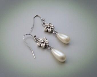 Silver metal Flower Earrings, White Pearl drop