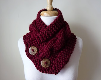"Knit Neck Warmer, Cable Knit Scarf,  Chunky Warm Winter Scarf in Burgundy 6"" x 25"" Coconut Shell Buttons Ready to Ship - Gift for Her"