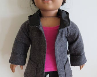 """Made To Fit Like American Girl Doll Clothes; 18"""" Doll Jacket; Doll Coat; Doll Herringbone Jacket; Doll Winter Coat; 18"""" Doll Hooded Jacket"""
