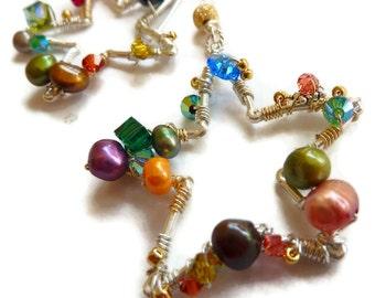 Earrings Silver Star Gold Filled Freshwater Pearls Crystal-Twinkle
