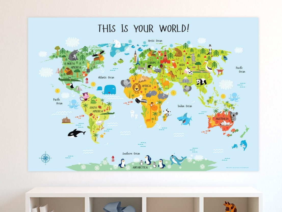 Baby boy nursery world map poster baby gift baby boy zoom gumiabroncs Images