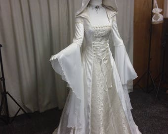 Custom made alternative wedding dresses and by outlanderweddings renaissance dress celtic wedding dress medieval wedding dress handfasting dress cold shoulder gown ivory wedding gown hooded dress junglespirit Gallery