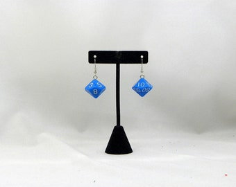 Blue percental dice earrings d10  geeky nerdy gamer D&D dungeons and dragons