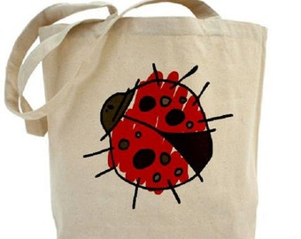 Lady Bug Tote - Cotton Canvas Tote Bag