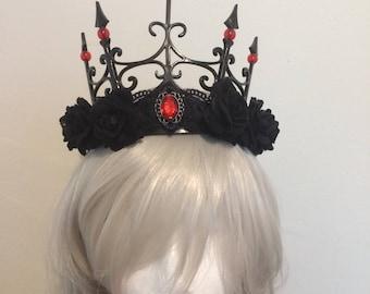 Dark rose gothic shadow queen tiara costume cosplay halloween fantasy larp crown