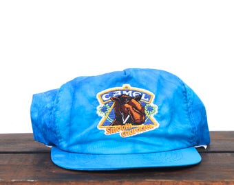 Vintage Trucker Hat Snapback Hat Baseball Cap Crazy Acid Wash Tie Dye Windbreaker Fabric Camel Cigarettes Smokin Joe Smooth Character