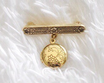 Vintage Mini Round Gold Tone Locket Pin Brooch