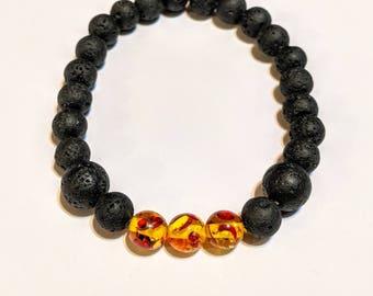 Amber and Black Lava Bead Bracelet