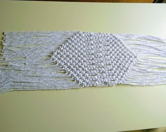 Macrame placement, Macrame table runner, Coffee Table Runner, Table decor, White Macrame, Handmade Table Runner, Boho decor, Home Decor Gift