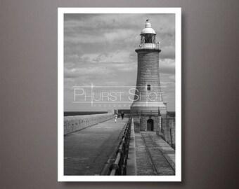 North pier lighthouse Tynemouth, Seascape print, Black white print, Lighthouse photo, fine art image, North East Seascape