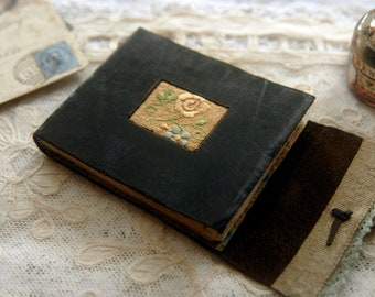 Meditations - Mini Black Leather Pocketbook, Recycled, Vintage Linen, Tea Stained Pages - OOAK