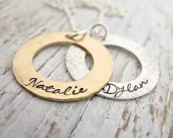 Gold and Silver Mother's Necklace, Personalized Jewelry, 2 kids names, Hand Stamped